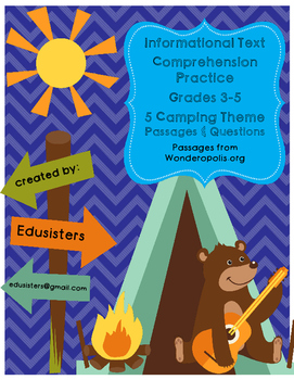 Informational Text Questions Wonderopolis Camping Theme Grades 3-5