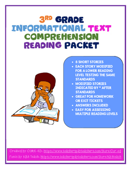 Informational Text Reading Comprehension Packet-3rd Grade