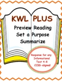 KWL Chart Expanded for Close Reading of Informational Text All Subjects 4-8 FREE