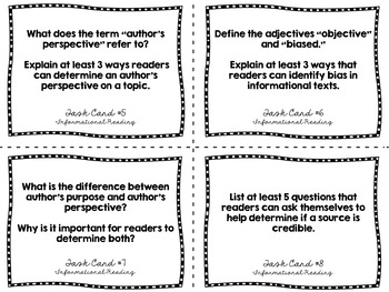 Informational Text Reading Strategies - Response Task Cards