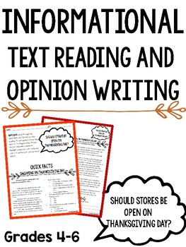 Informational Text Reading and Opinion Writing: Thanksgiving Day Shopping