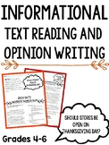 Informational Text Reading and Opinion Writing: Thanksgivi