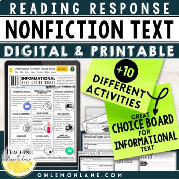 Informational Text Response Activity / Non-Fiction Choice board / Bundle