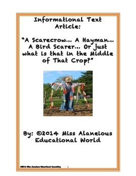 Informational Text: Scarecrows and Haymen ~ Who is Guarding the Crops?
