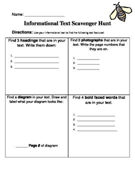 Informational Text Scavenger Hunt!