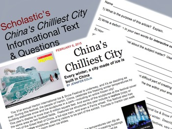 Informational Text: Scholastic's China's Chilliest City Article & Questions