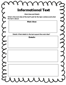 Informational Text Printable Skill Sheets
