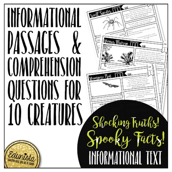 Informational Text: Halloween Creatures|Reading Comprehension and Questions