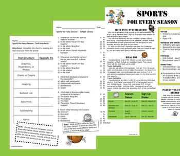 Informational Text - Sports for Every Season