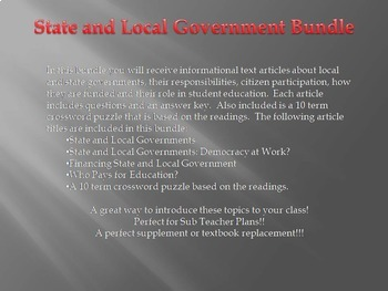 Info Reading Text - State and Local Governments Bundle (No Prep Sub Plans)