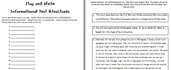 Informational Text Structure Hop & Write Activity