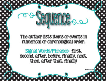 Informational Text Structure Posters in Black & White Polka Dot with Teal