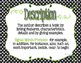 Informational Text Structure Posters in Black and White Polka Dot with Lime