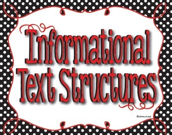 Informational Text Structure Posters in Black and White Polka Dot with Red