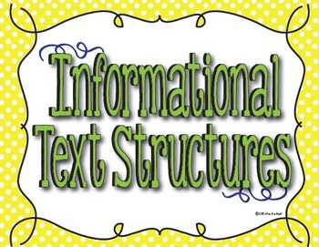Informational Text Structure Posters in Blue, Lime and Lemon Polka Dot