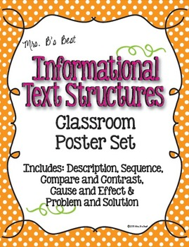 Informational Text Structure Posters in Tangerine, Hot Pink and Lime Polka Dots