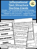 Informational Text Structure Sorting Cards
