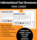 Informational Text Structure Task Cards for Middle School and High School