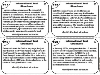 Informational Text Structures Task Cards 4th 5th 6th Grade Reading Comprehension