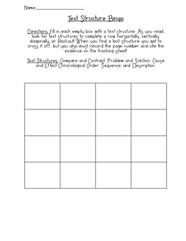 Informational Text Structures Bingo and Log