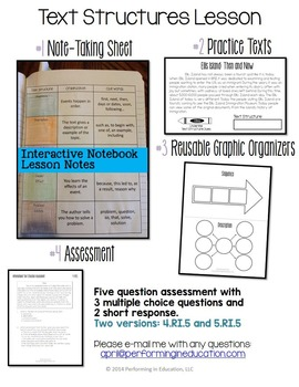 Informational Text Structures: Complete Lesson for Interactive Notebooks RI.5