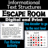 Informational Text Structures Escape Room - ELA