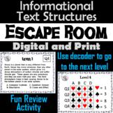 Informational Text Structures Activity Escape Room - Nonfi