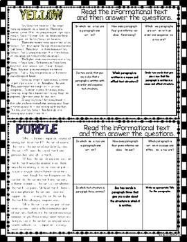 Informational Text Structures Game