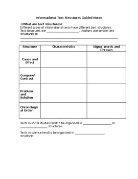 Informational Text Structures Guided Notes