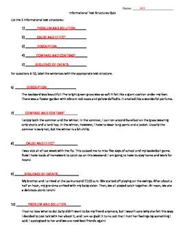 Informational Text Structures Quiz
