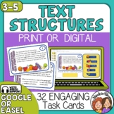 Informational Text Structures Task Cards Print and Digital with TpT Easel