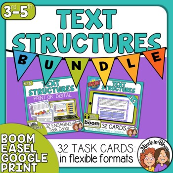 Informational Text Structures Task Cards and Digital Boom Cards Bundle
