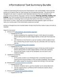 ESL Middle/Secondary Informational Text Summarizing Resources Bundle