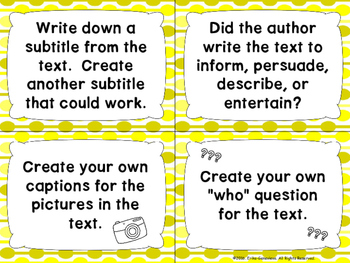 Informational Text Task Cards- FREEBIE!