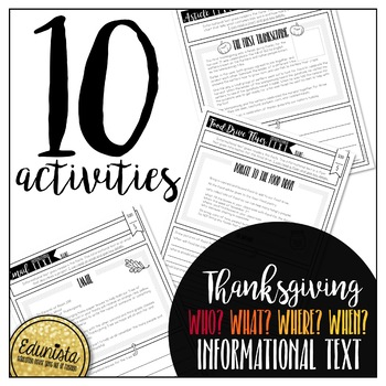 Informational Text: Thanksgiving Who, What, Where?