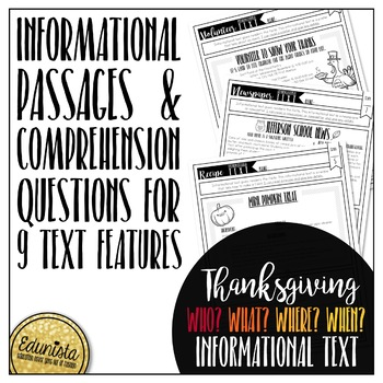 Informational Text: Thanksgiving | Reading Comprehension Passages and Questions