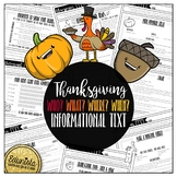 Informational Text: Thanksgiving   Reading Comprehension Passages and Questions