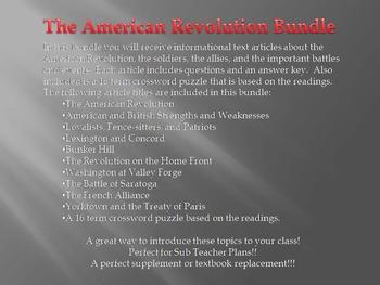 Informational Text - The American Revolution Bundle (No Prep Sub Plans)