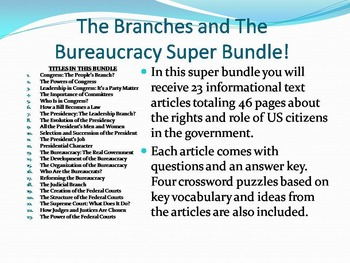 Info Reading Text - The Branches and Bureaucracy Bundle Save $15 (No Prep Sub)