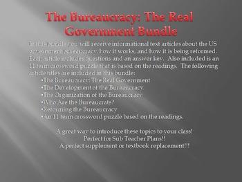 Info Reading Text - The Bureaucray Bundle (No Prep/Sub Plans)