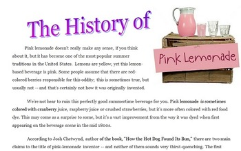 Informational Text: The History of Pink Lemonade