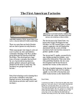 Info Reading Text-Rise of American Industry: First American Factories (No Prep)