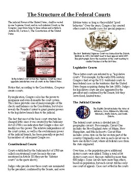 Info Reading Text - The Judicial Branch: Structure of the Courts (no prep/sub)