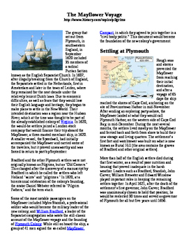 Informational Reading Text - The Mayflower Voyage (No Prep)
