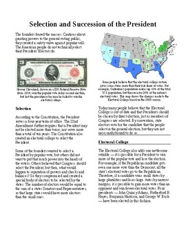 Informational Text - The Presidency: Selection and Succession (Sub Plans)
