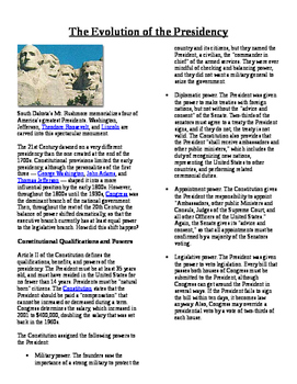 Informational Text - The Presidency: The Evolution of the