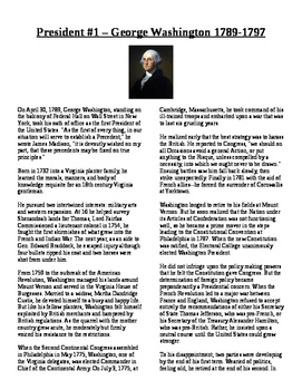Info Reading Text - US Presidents: George Washington (No P