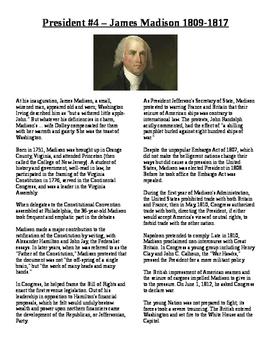 Info Reading Text - US Presidents: James Madison (No Prep Sub Plans)