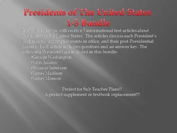 Info Reading Text - US Presidents: Presidents 1-5 Bundle (No Prep/Sub Plans)