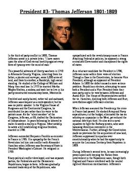 Info Reading Text - US Presidents: Thomas Jefferson (No Prep Sub Plans)